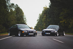 Image BMW Two Front Black M3 E36 3 series oldschool auto