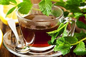 Fotos Tee Getränke Großansicht Tasse Blatt Löffel Untertasse Lebensmittel