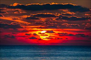 Fotos Sonnenaufgänge und Sonnenuntergänge Himmel Meer Sonne Wolke Horizont Natur