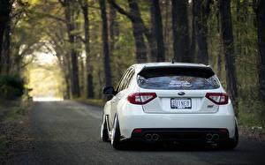 Hintergrundbilder Subaru Straße Wälder Hinten Weiß Fahrzeugscheinwerfer Impreza WRX STI