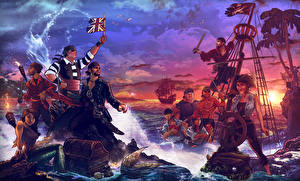 Fotos Piraten Vektorgrafik Mann Fantasy Mädchens