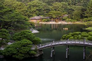 壁纸、、日本、庭園、川、橋、Ritsurin Garden  Takamatsu、自然