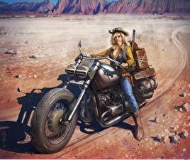Hintergrundbilder Gezeichnet Motorradfahrer Blond Mädchen Der Hut Motorrad Mädchens