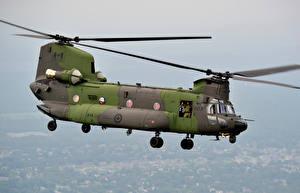 Hintergrundbilder Hubschrauber Flug CH-47F Chinook Luftfahrt