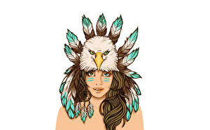 Picture Eagles Feathers Painting Art Dreamcatcher Indians Girls