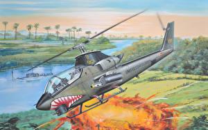 Hintergrundbilder Hubschrauber Gezeichnet Bell AH-1G Huey Cobra vietnam war Luftfahrt