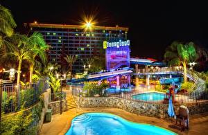 Image USA Disneyland Parks Houses California Anaheim Design Swimming bath Night Palms Cities