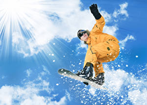 Pictures Snowboarding Men Sky Rays of light Clouds Sport