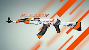 Hintergrundbilder Counter Strike Großansicht Sturmgewehr AK 47 AK-47 Asiimov Coridium CS:GO Global Offensive Spiele