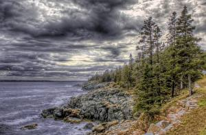 Picture Coast Rivers HDR Storm cloud Trees Nature