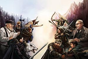 Bakgrunnsbilder Game of Thrones Drager Ulver Ringenes herre Dverger Alv Kriger Slag Daenerys Targaryen Sverd Tyrion Lannister Jon Snow Eddard Stark George R. R. Martin Baggins Gandalf Aragorn Legolas Gimli Tolkien Fantasy