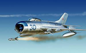 Hintergrundbilder Rakete Flugzeuge Gezeichnet Jagdflugzeug Flug Mig 17 russian fighter russian jet war Luftfahrt