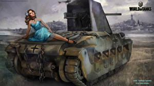 Wallpaper World of Tanks Painting Art Self-propelled gun Nikita Bolyakov Infanterie Panzerkampfwagen Mk II 748(E) mit 5 cm KwK L/42 Oswald Games Girls Army