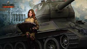 Hintergrundbilder WOT Gezeichnet Panzer T-34 Uniform Nikita Bolyakov T-34-85 Rudy computerspiel Heer Mädchens