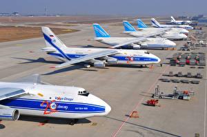 Bilder Flugzeuge Transportflugzeuge Antonov An-124 Ruslan Volga-Dnepr Airlines Airport Leipzig Halle Perron Soviet heavy long-range Luftfahrt
