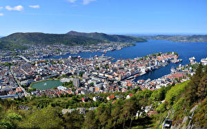 Image Norway Building Rivers Bergen From above Cities