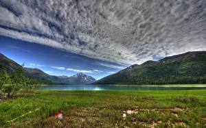 Fotos See Vereinigte Staaten Gebirge Landschaftsfotografie Himmel Alaska Wolke HDRI Gras Eklutna Lake Natur