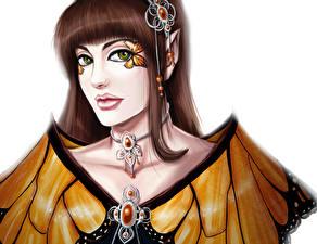 Bilder Schmuck Gezeichnet Halsketten Blick Braune Haare monarque Fantasy Mädchens