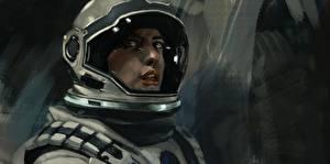 Picture Anne Hathaway Astronaut Painting Art Interstellar (film) Helmet Amelia Brand Movies Girls