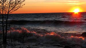 Bilder Meer Sonnenaufgänge und Sonnenuntergänge Horizont Sonne Natur