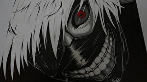 Bilder Masken Tokyo Ghoul Junger Mann Starren Haar Kaneki Ken Anime