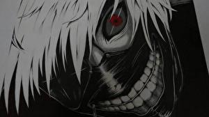 Tapety na pulpit Maska Tokyo Ghoul Chłopacy Wzrok Wlosy Kaneki Ken Anime