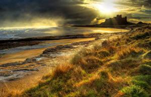 Images Landscape photography Scotland Castle Coast Sky Grass Bamburgh Castle Nature Cities