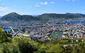 Wallpapers Houses Mountains Norway Bergen Cities