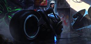 Bilder Motorradfahrer cyberbike cyberpunk Fantasy Motorrad Mädchens