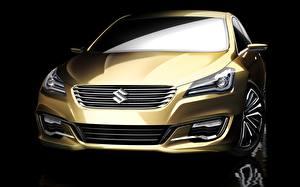 デスクトップの壁紙、、スズキ - 自動車、金色、正面図、前照灯、Authentics Concept、