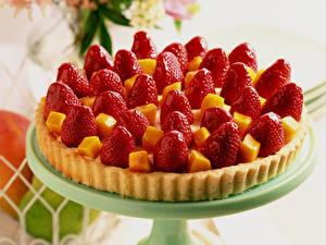 Hintergrundbilder Obstkuchen Erdbeeren Hautnah Backware Lebensmittel
