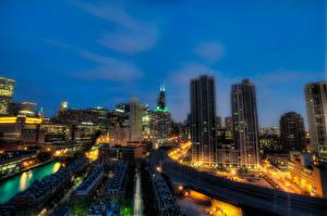 Hintergrundbilder Vereinigte Staaten Wolkenkratzer Haus Chicago Stadt Nacht HDRI Illinois Städte