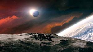 Bureaubladachtergronden Planeet Ruimtevaarder Planeet oppervlak Ruimte Fantasy