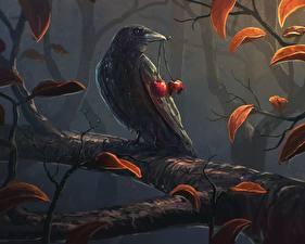 Hintergrundbilder Vögel Gezeichnet Aaskrähe Kirsche Ast Tiere