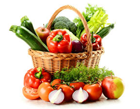 Images Vegetables Tomatoes Apples Onion Bell pepper Dill Wicker basket Food