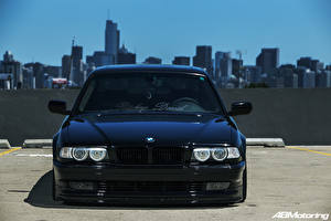 Wallpapers BMW USA Chicago city Front Black E38 Stance Cars Cities