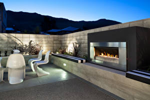 Wallpaper Interior Fireplace High-tech style