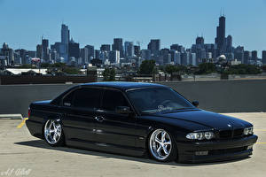 Desktop wallpapers BMW USA Chicago city Black E38 Stance automobile Cities