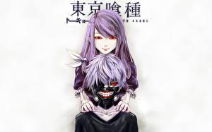 Tapety na pulpit Tokyo Ghoul Maska Młody człowiek Spojrzenie Ken Kaneki Rize Kamishiro Anime Dziewczyny