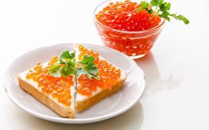 Photo Caviar Butterbrot Closeup Plate Red Food