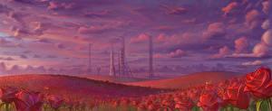 Bilder Rosen Acker Rakete Gezeichnet Spaceport Natur Blumen