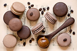 Fotos Kekse Großansicht Kaffee Macaron Getreide Löffel Lebensmittel