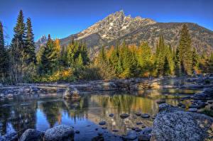 Hintergrundbilder Vereinigte Staaten Park Gebirge Wälder Steine Landschaftsfotografie HDRI Bäche Grand Teton Natur