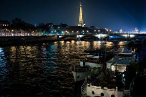 Bakgrunnsbilder Frankrike Elver Elv Broer Passbåt Paris Natt Gatebelysning en by