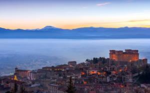 Images Italy Castle Mountain Coast castello di celano Cities
