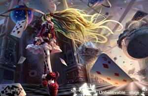 Bilder Vocaloid Spielkarte Haar Kleid Anime Mädchens
