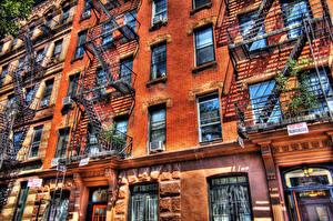 Bilder USA Haus HDR Aus Ziegel Balkon Städte