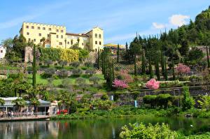 Desktop wallpapers Italy Gardens Castle Pond Shrubs Trauttmansdorff Castle Gardens Nature Cities