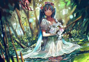 Hintergrundbilder Hatsune Miku Vocaloid Haar Kleid Anime