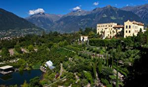 Pictures Italy Castles Gardens Mountains Trees Bush Trauttmansdorff Castle Gardens Merano Nature Cities